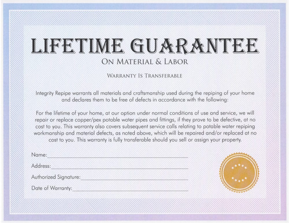 Integrity Repipe Lifetime Guarantee Certificate